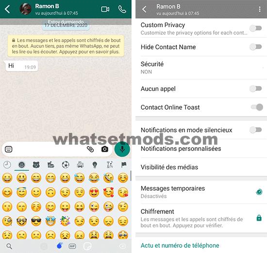 image avec les principales caractéristiques de Fouad iOS WhatsApp